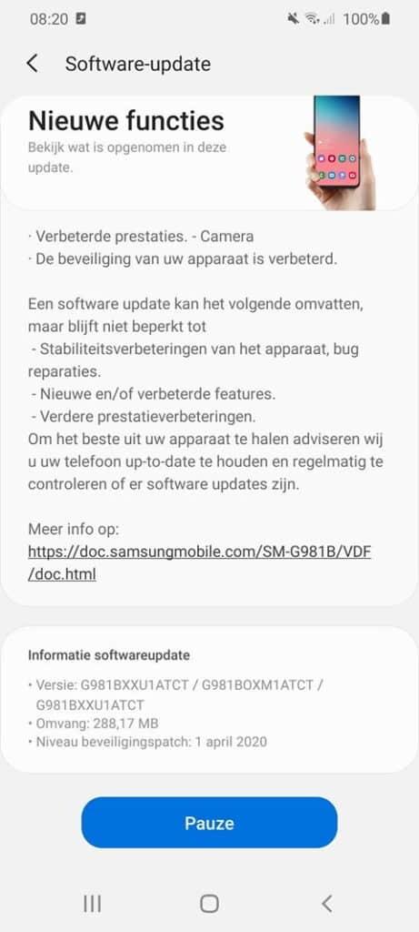 galaxy s20 update april 2020 changelog g981bxxu1atct camera