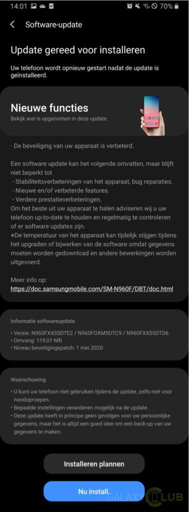 galaxy note 9 update mei 2020 changelog n960fxxs5dte2