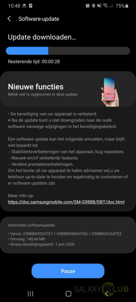 galaxy s20 ultra changelog update juni g988bxxs2ate7
