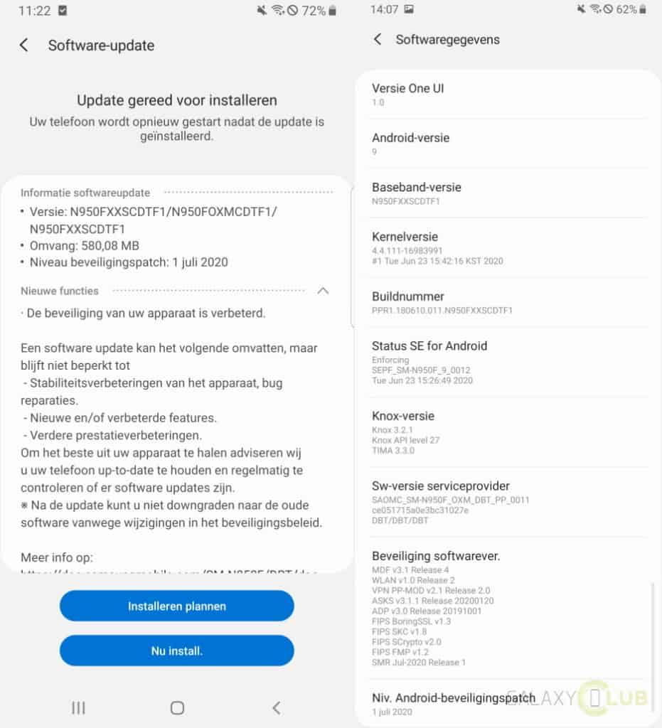 galaxy note 8 update juli 2020 changelog n950fxxscdtf1