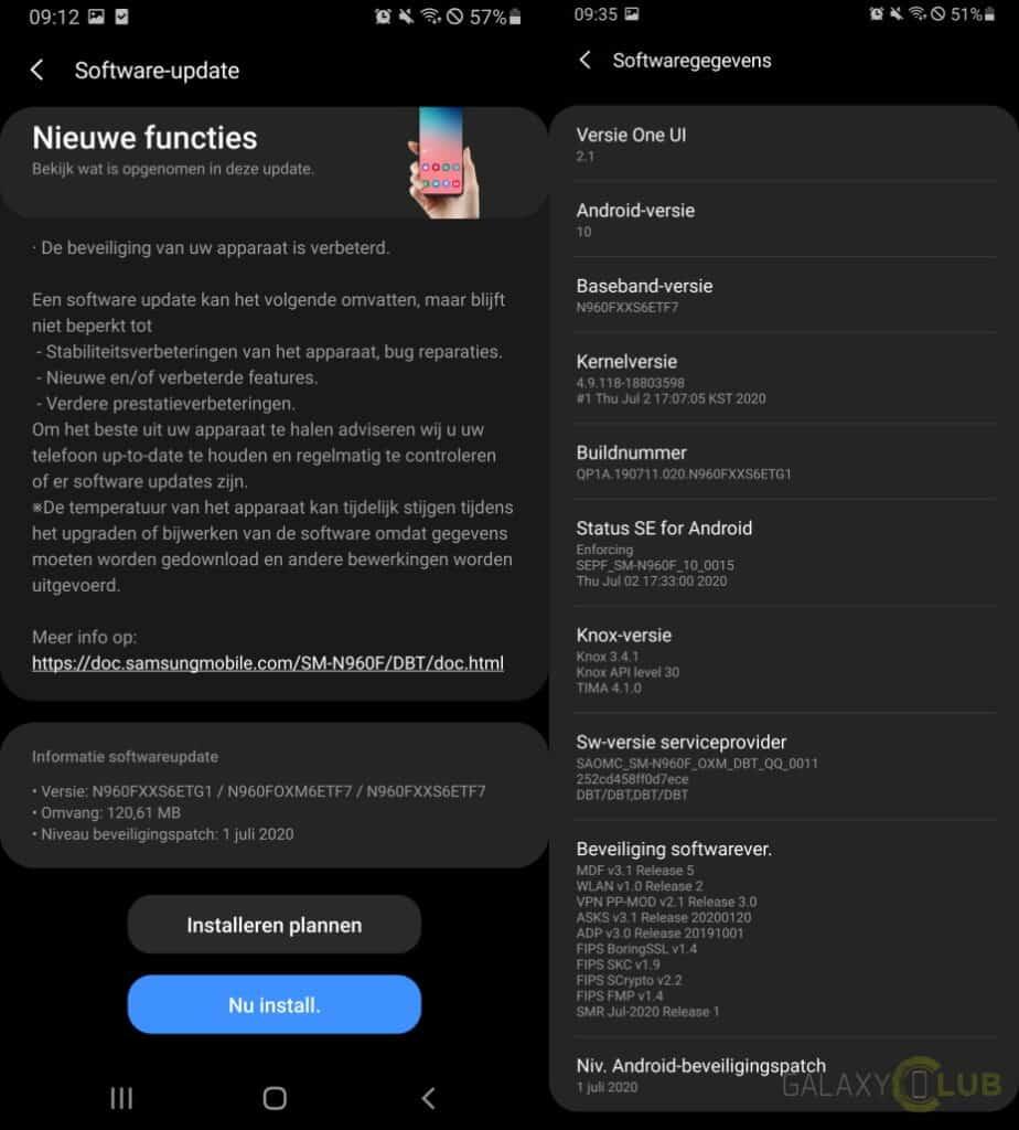 galaxy note 9 update juli 2020 changelog