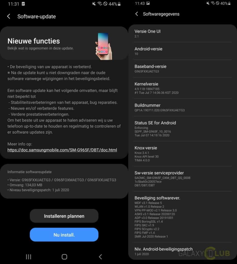 galaxy s9 g965fxxuaetg3 changelog update juli 2020