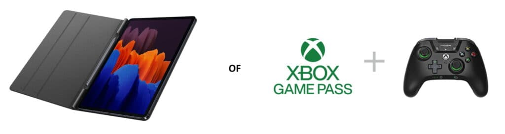 samsung galaxy tab s7 pre-order book cover of xbox game pass actie