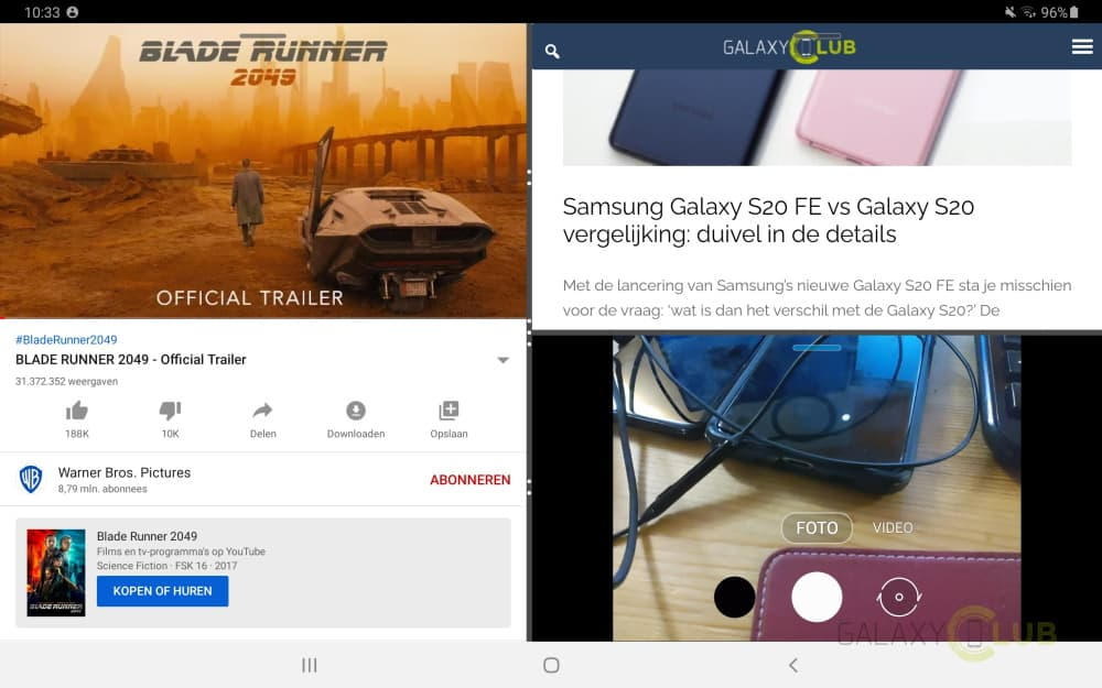 tab s5e multi window 3 vensters