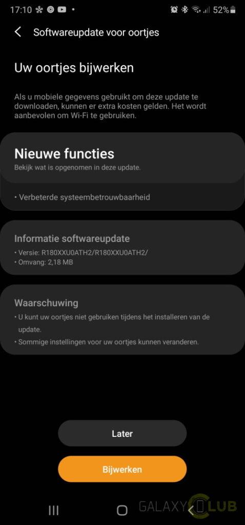 Changelog van Samsung Galaxy Buds Live update naar R180XXU0ATH2