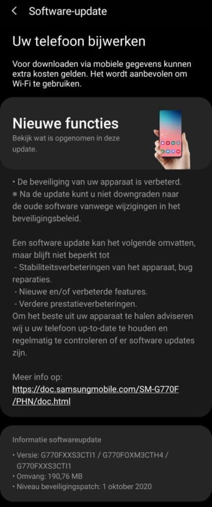 galaxy s10 lite update oktober 2020 changelog