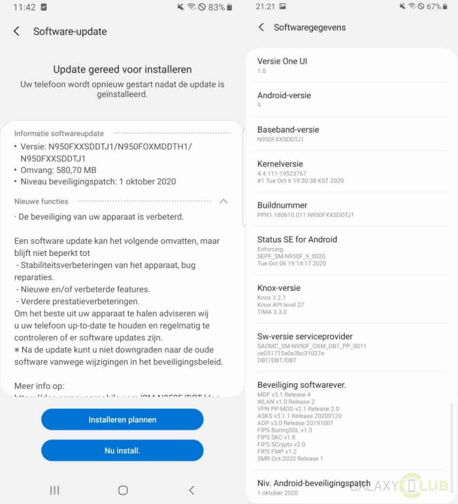 galaxy note 8 update oktober 2020 changelog en firmwareversie