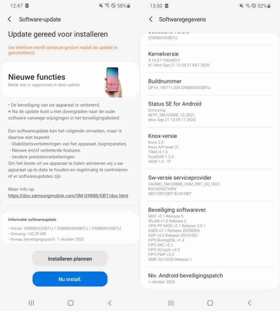 galaxy s20 update oktober 2020 changelog