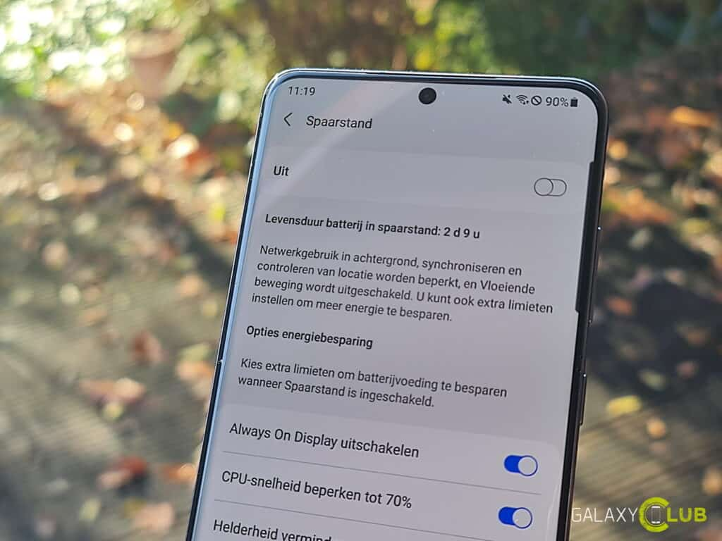 samsung galaxy and android 11: power save mode
