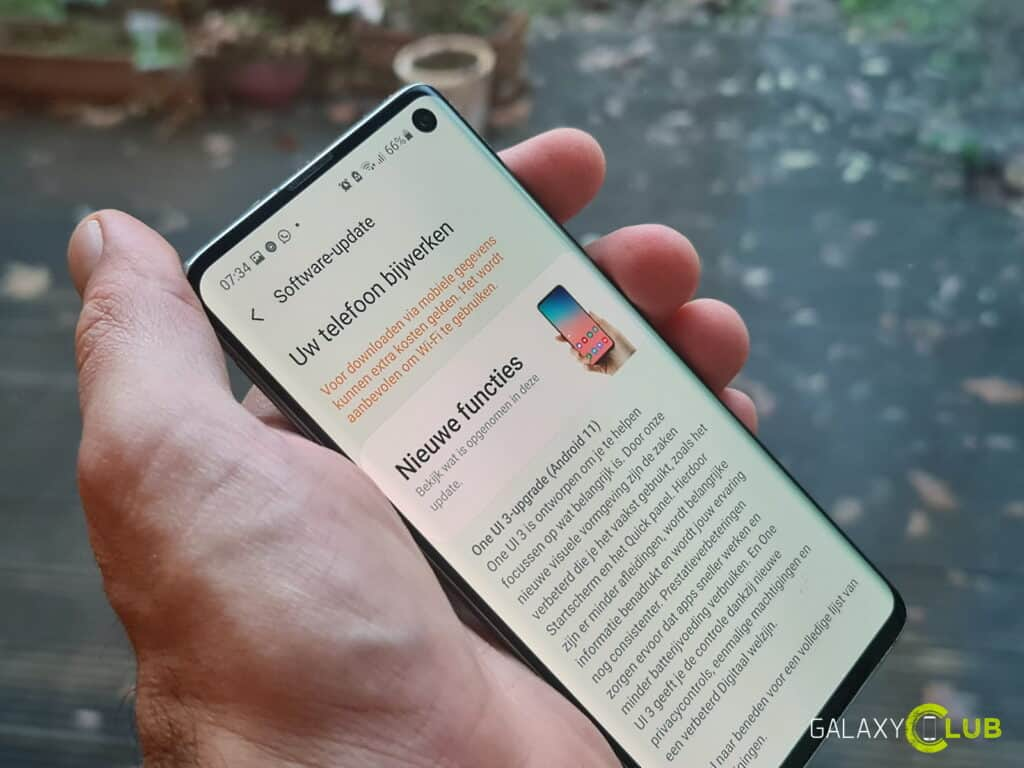 galaxy s10 android 11 stopgezet