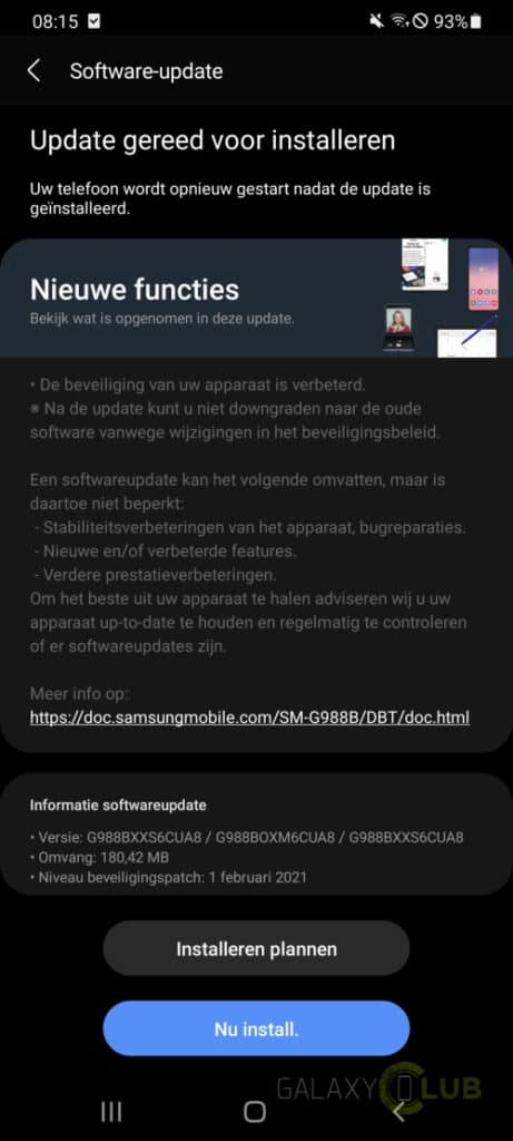 galaxy s20 update februari 2021 changelog