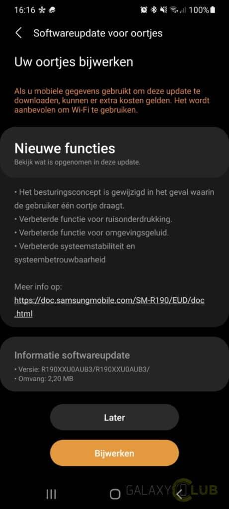 Galaxy Buds Pro update R190XXU0AUB3
