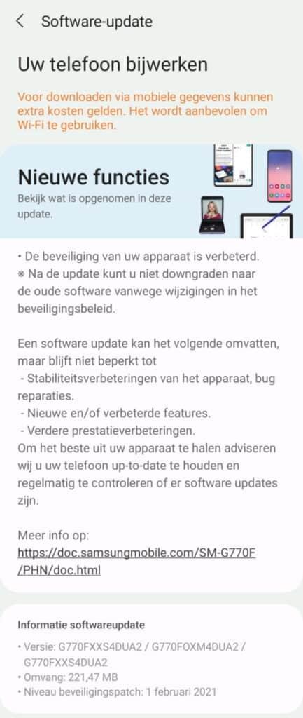 Galaxy S10 Lite update februari 2021