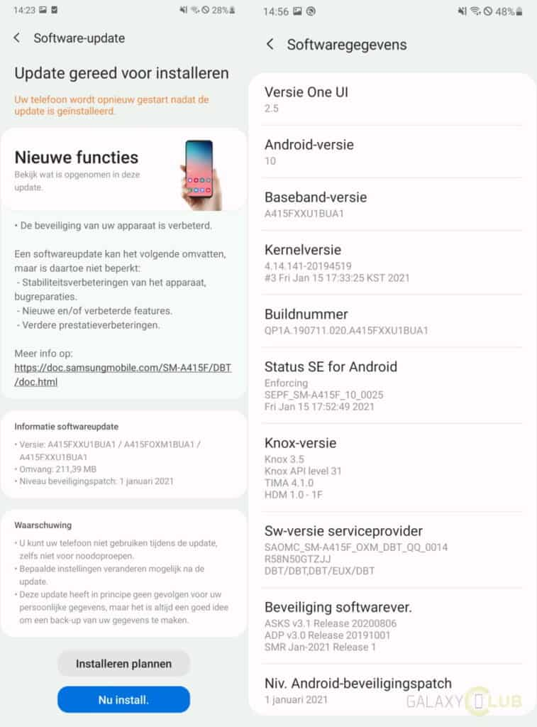 Galaxy A41 update changelog a415fxxu1bua1 januari 2021 patch