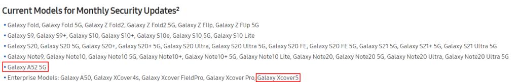 galaxy a52 maandelijkse updates